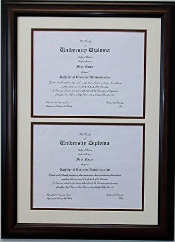 (Double Diploma Document Certificate Openings Wood Picture Frame for Two 8.5x11 8-1/2x11 8.5 x 11)
