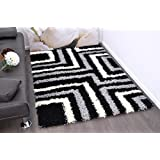 Black & Grey Tides Design Shaggy Rug Black,Grey & White Colours 5cm Thick Sof...