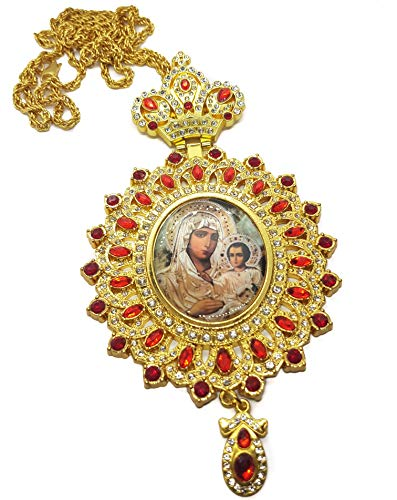 (Nazareth Store Gold Plated Pectoral Cross Red Zircons Crystals Virgin Mary Icon Pendant Christian Priest Crucifix with Chain )