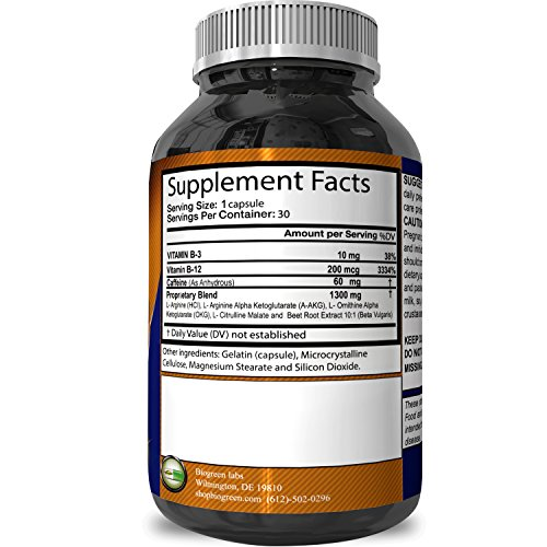 Pre Workout Nitric Oxide Supplement L Arginine + L Citruline Boosts Exercise Performance & Stamina Improves Recovery Supports Heart Health Increases Libido 60 capsules Biogreen Labs