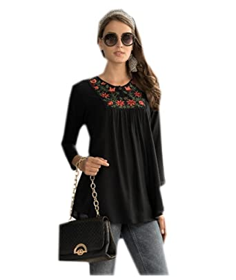 6409d14b68e0c2 Daddy-x Women Black Cotton Tunic Floral Embroidered Top Summer Dress   Amazon.co.uk  Clothing