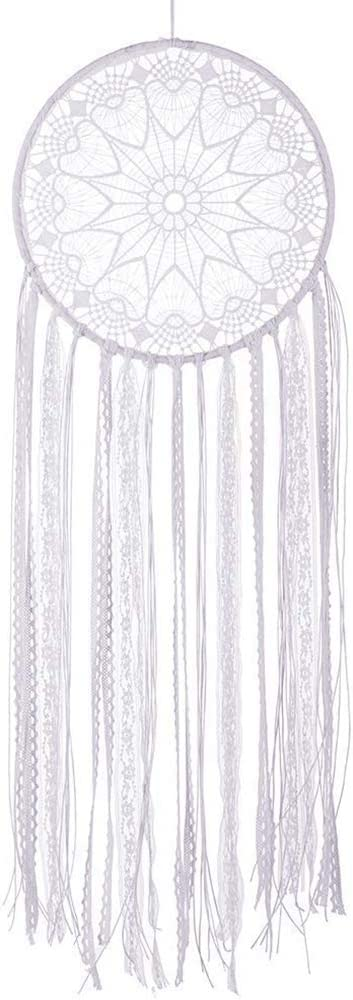 """CHICIEVE White Dream Catcher White Boho Crochet Lace Teen Dream Catchers for Bedroom 10.2"""" WX33.8 L"""