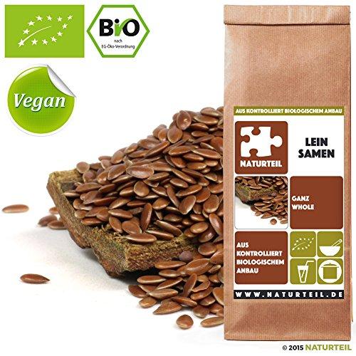 Naturteil - LEINSAMEN GANZ BIO / Superfood in Rohkostqualität, FLAX SEEDS, Organic, Raw, Vegan - 500g