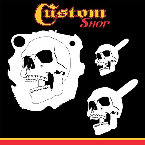 Custom Shop Airbrush Stencil Skull Design Set #4 (3 Different Scale Sizes) - 3 Laser Cut Reusable Templates - Auto, Motorcycle Graphic Art (Airbrush Skull Stencils Reusable)