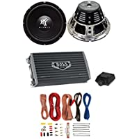 2) HIFONICS HFX12D4 12 1600W Car Audio DVC Subwoofers +2 Ch Amplifier+Amp Kit