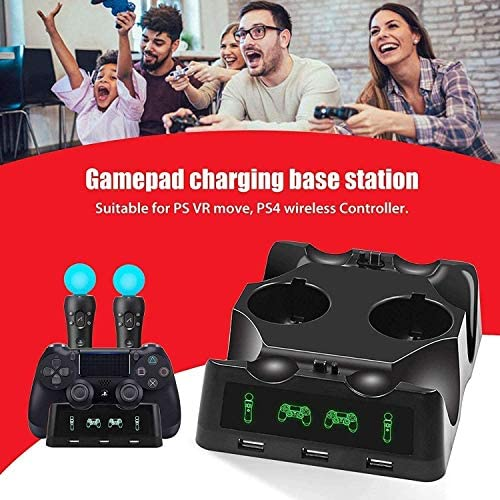 4 in 1 PS4 Controller Charger[Upgraded Version], Quad Charging Staion, 3 USB Interface Charging Desk for Sony Playstation 4/PS4/PS4 Pro/PS4 Slim/PS Move with LED Indicator 51n1BhzRgaL