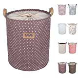 DOKEHOM DKA0811PE2 17.7' Large Laundry Basket (Available 17.7' and 19.7'), Drawstring Waterproof Round Cotton Linen Collapsible Storage Basket (Purple Dots, M)