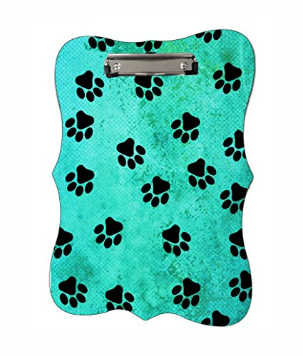 Paws on Blue Grunge Benelux Shaped 2-Sided Hardboard Clipboard with Glossy Finish and Silver (Paw Shaped Clip)