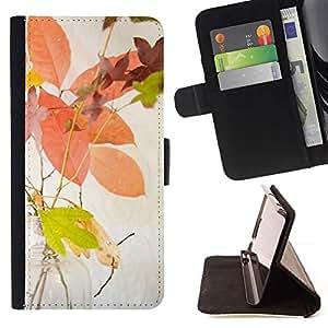 For Apple (4.7 inches!!!) iPhone 6 / 6S Case , Hojas de otoño amarillo Naturaleza colorida- la tarjeta de Crédito Slots PU Funda de cuero Monedero caso cubierta de piel