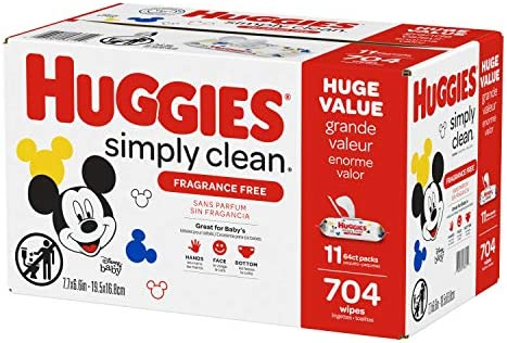 51n1CB4kbrL. AC Huggies Simply Clean Unscented Baby Wipes, 11 Flip Lid Packs (704 Wipes Total)    Huggies Simply Clean Fragrance Free Baby Wipes deliver the perfect combination of convenience and versatility. Perfect for sensitive baby bottoms, as well as wiping hands, faces and surfaces for toddlers & children. Simply Clean unscented baby wipes are a great solution wherever you go, whether it's around the house, at the playground or in the car. Because Kids Outgrow Diapers, Not Messes. Simply Clean Wipes are hypoallergenic, dermatologically tested & pH-balanced to help maintain healthy skin. They're also fragrance free, alcohol free, paraben free and do not contain phenoxyethanol or MIT. Huggies Simply Clean Wipes are available in a variety of package options, perfect for use at home and on the go: flip lid packs, refill packs, reusable nursery tub and the stylish Clutch 'N' Clean refillable travel pouch. You can also choose between Fragrance Free and Fresh Scent varieties. Don't get caught without Huggies wipes! Sign up for Subscribe & Save to ensure you always have Huggies Simply Clean Wipes on hand. Join Huggies Rewards+ Powered by Fetch to get rewarded fast. Earn points on Huggies diapers and wipes, in addition to thousands of other products to redeem for hundreds of gift cards. Download the Fetch Rewards app to get started today!