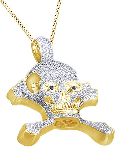 Round Cut Cubic Zirconia Skull & Bones Hip Hop Pendant in 14k Yellow Gold Over Sterling Silver (9.13 Cttw) by AFFY