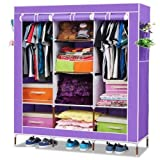 Fancy and Portable Foldable Closet Wardrobe Cabinet Portable Multipurpose Clothes Closet Portable Wardrobe Storage Organizer with Shelves 3.5 Feet Folding Wardrobe Cupboard Almirah Foldable Storage Rack Collapsible Cabinet (Need to Be Assembled) By Krishyam