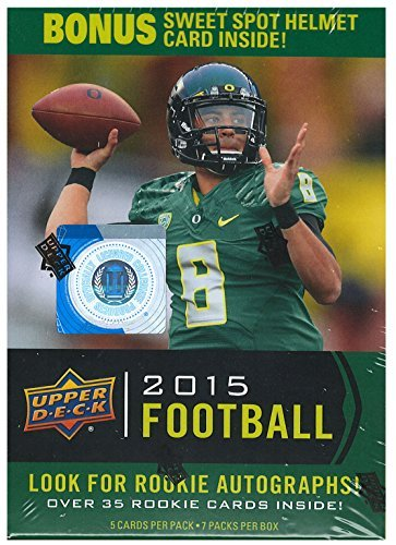 2015 Upper Deck Football Unopened Blaster Box of Packs with Chance for 2015 NFL Draft Picks Marcus Mariota Jameis Winston and Others Plus an Exclusive Sweet Spot Helmet (Upper Deck Nfl Box)