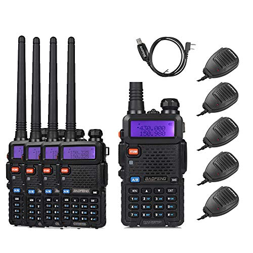 BaoFeng 5 Pack UV-5RTP 8W Dual Band Two Way Radio (High Power Version of UV-5R) with 5 Remote Speakers + 1 Programming Cable
