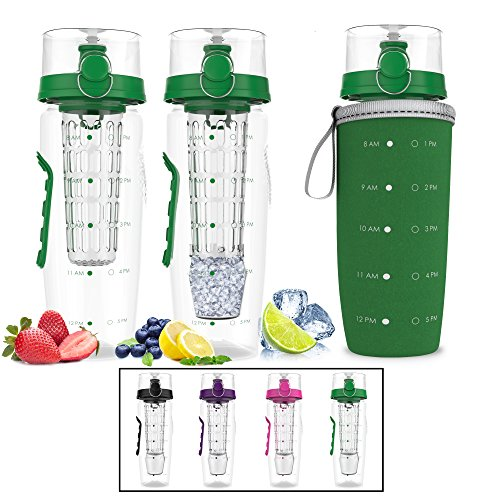 Bevgo Infuser Water Bottle – Large 32oz - Hydration Timeline Tracker – Detachable Ice Gel Ball With Flip Top Lid - Quit Sugar - Save Money - Multiple Colors with Recipe Book Gift Included