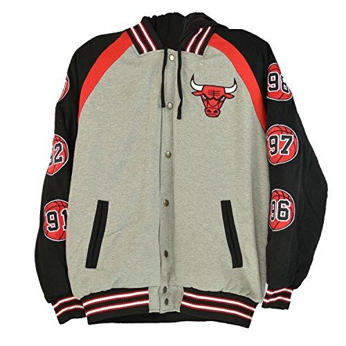 JH Designs NBA Bulls Men's Hooded Jacket Grey/Black-Red la330262-cgb (Size (Nba Reversible Fleece)