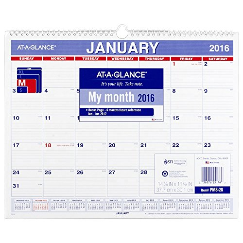 At A Glance Monthly Wall Calendar 2016  12 Months  14 7 8 X 11 7 8 Inch Page Size  Pm828