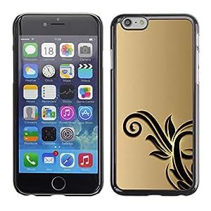 X-ray Impreso colorido protector duro espalda Funda piel de Shell para Apple iPhone 6 Plus(5.5 inches)- Gold Black Flowers Floral