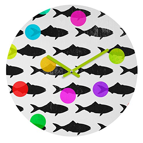 Deny Designs Elisabeth Fredriksson, Happy Fish , Round Clock, Round, 12