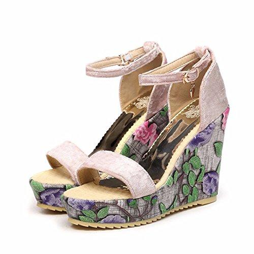 hohe Sandalen Damen Schnalle Absätze Pink Ferse Damen Sandalen Meine Süßes 7vtann