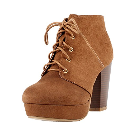 Forever Camille-86 Women's Comfort Stacked Chunky Heel Lace Up Ankle Booties, Tan, 5.5