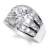 JamesJenny Ladies 925 Sterling Silver 1.35ct Round CZ Engagement Solitaire Ring Size 10