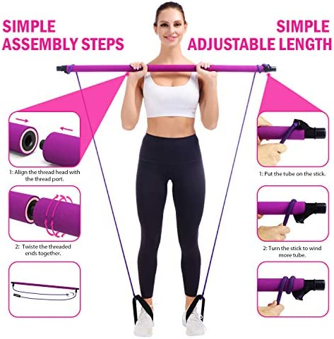 Viajero Pilates stick Bar with 2 Latex Resistance Bands Tubes for Women & Men, All-in-one Training Equipment Pilates kit for Home Gym Workout Fitness Exercise with Foot Loops for Squat Yoga Body Shape 5