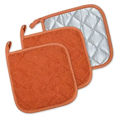 DII 100% Cotton, Machine Washable, Heat Resistant, Everyday Kitchen Basic, Terry Pot Holder, 7 x 7 , Set of 3, Spice