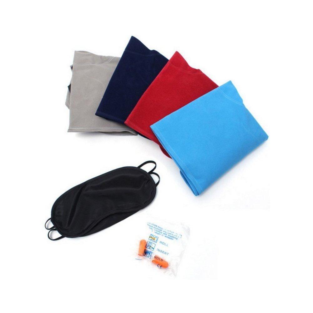con bolsa con cord/ón m/áscara de ojos tapones para los o/ídos cuello inflable azul Almohada de viaje hinchable plegable lavable en forma de U Nider