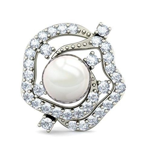 Or blanc 18K 0.41carat au total White-diamond (IJ | SI) et blanc perle Boucles d'oreille à tige