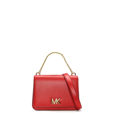 Michael Kors Mott Bright Red Leather Chain Shoulder Cross-Body Bag   Amazon.co.uk  Shoes   Bags 0d48f970b
