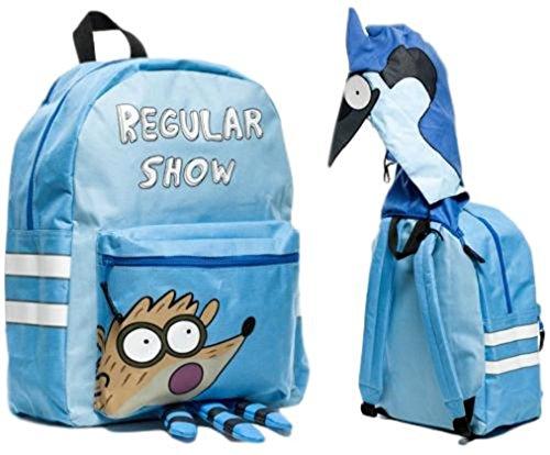 Regular Show Mordecai Cartoon Character Hooded Backpack