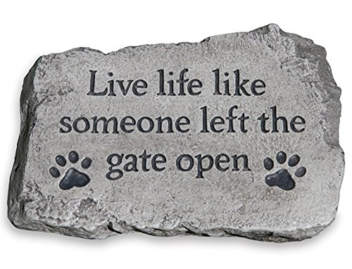 Life Like Home Accent - Massarelli's 'LIVE LIFE LIKE SOMEONE LEFT THE GATE OPEN' STEPPING STONE Home and Garden Accent Is Durable, Handcrafted, Fun, Includes Paw Prints