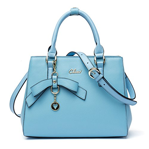 light blue leather handbags - 6