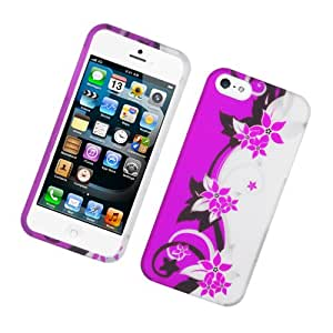 Case for Apple iPhone 5 5S Rubberized Pink Silver Vines TPU/PC Protector Cover + FREE PRIMO DESIGN CARTOON FOLDABLE TOTE BAG
