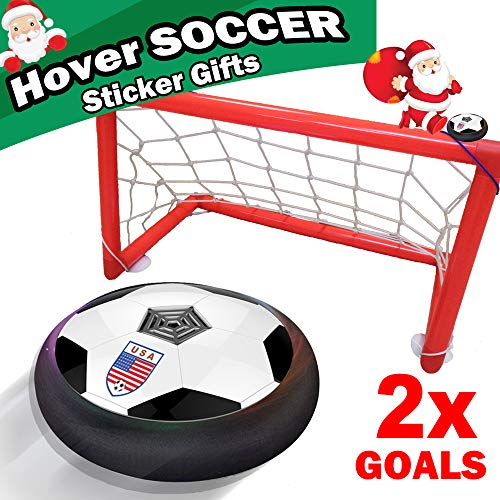 Hover Soccer Ball Kids Sport Toys Air Power Soccer 2 Goals Gift LED Light Up Hover Training Football Disk Indoor Outdoor Ball Games Boys Girls Age 2-14 Gift Birthday Holiday Toys