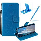 Strap Leather Case for Samsung Galaxy S10 Lite,Blue Wallet Leather Cover for Samsung Galaxy S10 Lite,Herzzer Classic Pretty Butterfly Lotus Drawing Embossed Magnetic Stand Card Holders Case