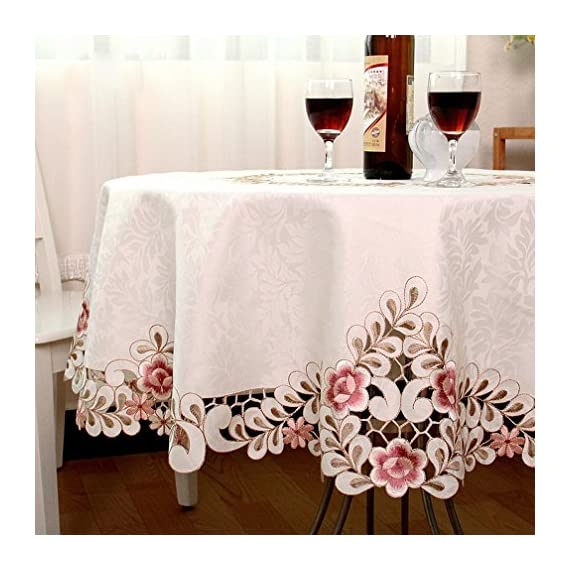 QXFSMILE Embroidered Floral Fabric Classy Hand-cut Work Round Tablecloth White Round 70 Inch - This tablecloth is very well constructed and durable with classy look The color was vibrant and the quality was great Machine wash cold, tumble dry low, no bleach. - tablecloths, kitchen-dining-room-table-linens, kitchen-dining-room - 51n1EiAWRkL. SS570  -