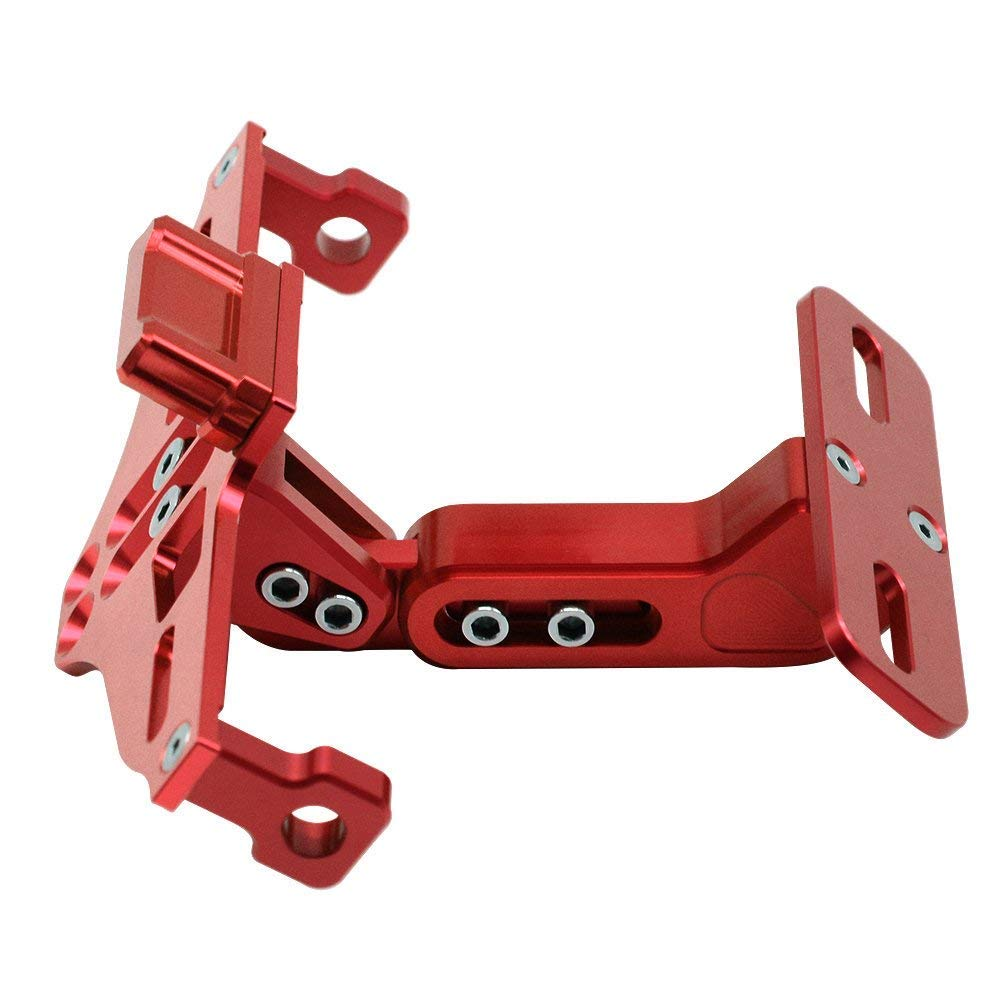 Lisyline Motorcycle Universal Adjustable License Plate Tag Holder Led Tail Light Bracket for Honda Kawasaki Suzuki Yamaha KTM(red)