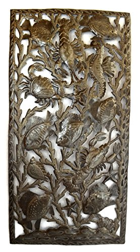 it's cactus - metal art haiti Deep Sealife Wall Sculture, Crab, Lobster, Seahorse, Shells, Starfish, and Fish 17.25