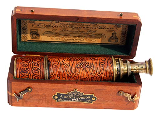 MAH 20 inch Brass Spyglass Ship Telescope Leather Bounded with Wooden Box. C-3091