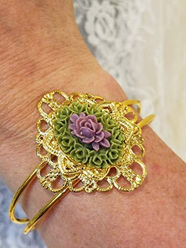 (Victorian Style Purple Rose Cameo Cuff Bracelet *Reproduction* Goldtone Filigree)