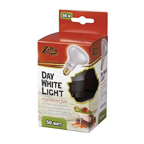 Zilla Reptile Terrarium Heat Lamps Incandescent Bulb, White Spot, 50W