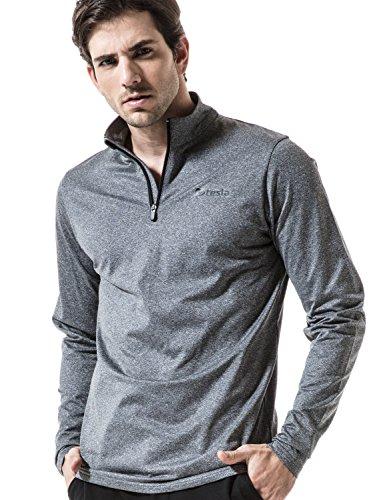 TM-HMKZ01-GRY_X-Large Tesla Men's Winterwear Sporty Slim Fit 1/4 Zip Fleece Lining Sweatshirt (Mens Fleece Half Zip Pullover)