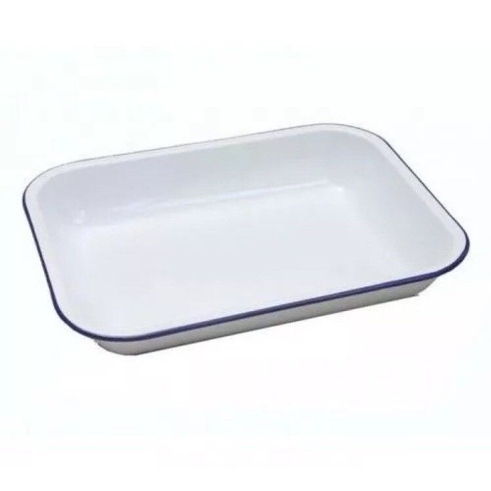 Genware 61028 Enamel Baking Tray, 28 cm x 23 cm x 4.5 cm
