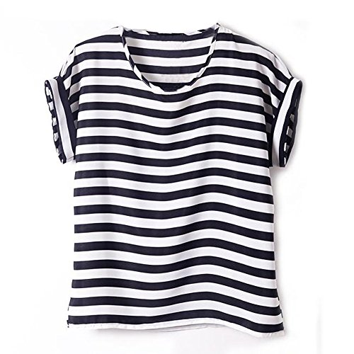blouses Mousseline de Chauve Femme en Coeur Vobaga oiseau Chemisiers Soie Souris Manches T Noir shirts Haut Bande Blanc Courtes Impression 0E7w0x8q
