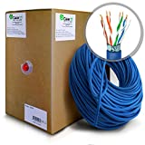GearIT 1000 Feet Bulk Cat5e STP Ethernet Cable - Solid Twisted Pair - Cat 5e Shielded 350Mhz 24AWG Full Copper Wire Pull Box - In-Wall Rated (CM), Blue