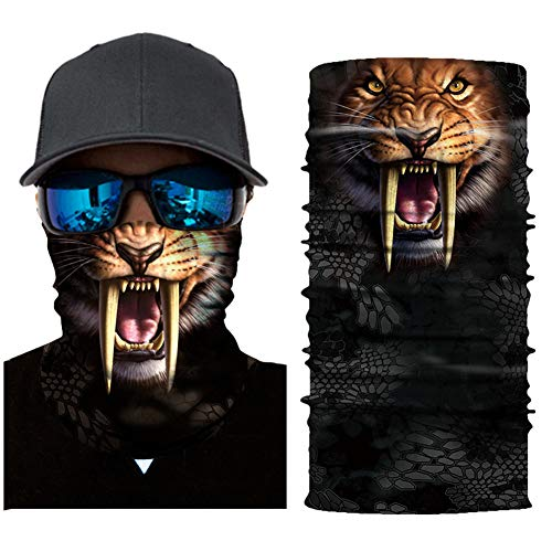 Seamless Face Mask| Bandana for Dust| Headband | Magic Scarf| Head Wrap| Windproof Neck Warmer| Neck Gaiter| Balaclava| Headwear | Animal Sweatband For Music Festivals, Raves, Outdoors - Tigers Helmet Premium