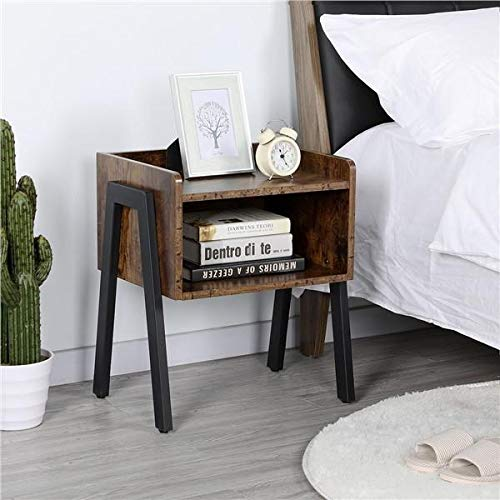 Yaheetech Industrial Nightstand with Storage Drawer, Set of 2 Stackable End Tables, Sofa Bed Side Table for Small Spaces, Wood Look Accent Furniture with Iron Legs, Rustic Brown