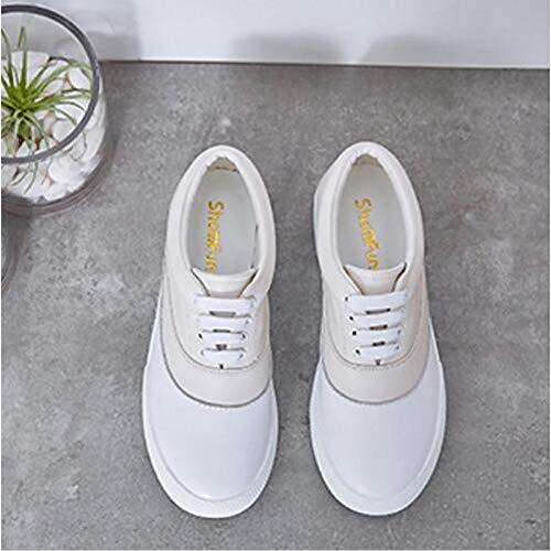 ZHZNVX Zapatos de Mujer Denim/Nappa Leather Otoño/Primavera y Verano Comfort Sneakers Flat Heel Punta Redonda Gris Claro/Rosa / Azul Claro Beige